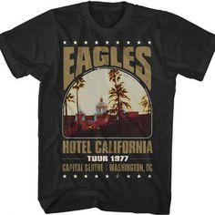 Eagles retro concert t-shirt from Hotel California 1977 tour stop at the Capital Centre in Washington, DC on the front. Printed on a black cotton t-shirt. Classic Rock Shirts, Classic Rock And Roll, Rock T Shirts, Band Shirts, Rock Band Tees, Band Merch, Rock Bands, Vintage Concert T Shirts, Vintage Band T Shirts