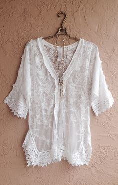Sheer lace embroidered Bohemian tunic with crochet trim gypsy bride resort bikini coveup Gypsy Style, Bohemian Style, Mode Style, Style Me, Boho Chic, Vetements Clothing, Mode Hippie, Estilo Hippy, Boho Fashion