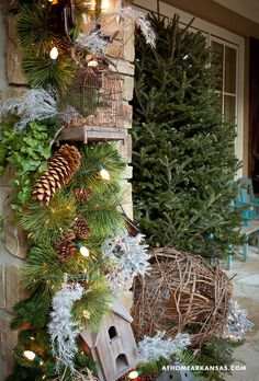 beautiful exterior Christmas decor ~ love the birdcage and birdhouse
