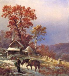 Edward Moran (American painter, 1829-1901) Winter at the Farm