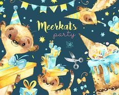 Meerkats. Party. Watercolor animals clipart, little meerkats, birthday, celebration, fun, holiday, love, invites, floral, gift, babyshower