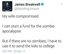 What happens if the apocalypse happens the day after you've finished paying for all your children's college..?