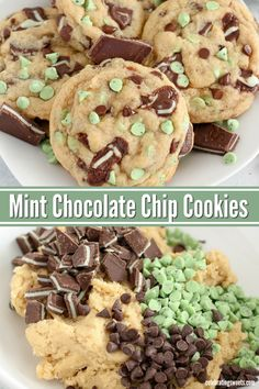 Chocolate Chip Cookies Big soft cookies filled with Andes mints, mint chips and chocolate chips. No chill time, ready in 30 minutes!Big soft cookies filled with Andes mints, mint chips and chocolate chips. No chill time, ready in 30 minutes! Köstliche Desserts, Holiday Baking, Christmas Desserts, Christmas Baking, Delicious Desserts, Dessert Recipes, Yummy Food, Chocolate Desserts, Yummy Cookie Recipes