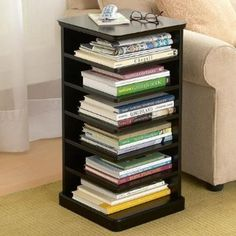 This small side table also doubles as a book storage utilizing the space it takes up to the max