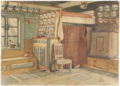 Interiors, Petalax/Petolahti, Ostrobothnia. 1915. By Salervo Toivo.