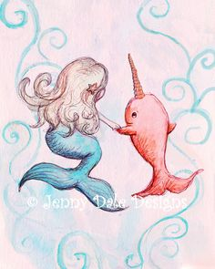 Narwhal and Mermaid Print Pink Art Mermaid Decor: Art for Girls, Pink nursery art print, cute mermaid