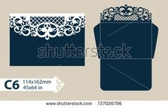 Template congratulatory envelope with carved openwork pattern. Pattern is suitable for greeting cards, invitations, menus, etc. Picture suitable for laser cutting or printing. Vector