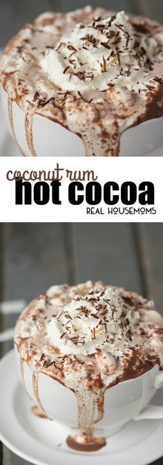 Rich and decadent Coconut Rum Hot Cocoa will warm your belly and put a smile on your face! via @realhousemoms