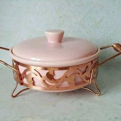 Vintage Pink Speckle Ceramic Casserole Dish in Server