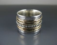 silver spinner ring with two gold-filled by formandfunktion Bagan, Ring Ring, Meditation Rings, Hammered Gold, Spinner Rings, Jewelry Rings, Jewellery, Unique Jewelry, Silver Beads