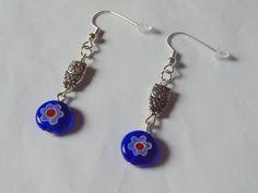 Owl dangle earrings blue earrings owl earrings dangle by KaisCards