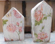 Deko Häuschen shabby chic, Rosen, Decoupage, Vintage, Alt Holz Houses of roses, decoupage in old wood