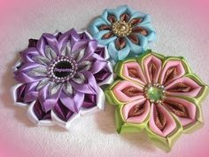 DIY how to make satin ribbon flower, kanzashi tutorial. - YouTube
