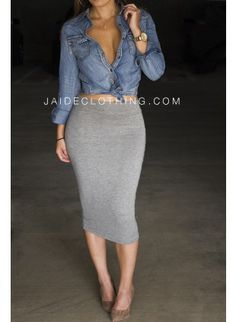 EXCLUSIVE Heather Grey Midi Pencil Skirt