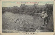 SE Parma Jackson MI Circa 1920s Creek Fishing Is So Good The Fish Are Jumping | eBay
