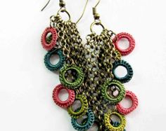 Handmade Original Retro Crochet dangle silk earrings, spring autumn summer winter fashion, bohemian, textile fiber jewelry, romantic chic