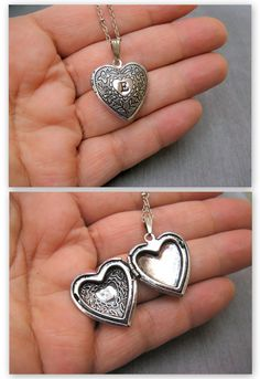 Personalized heart locket necklace Silver heart by SaysTheStone