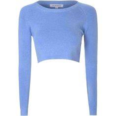 Denim Blue Cropped Knit Top ($37) ❤ liked on Polyvore featuring tops, blue, white top, long sleeve tops, white crop top, knit crop top and white knit top
