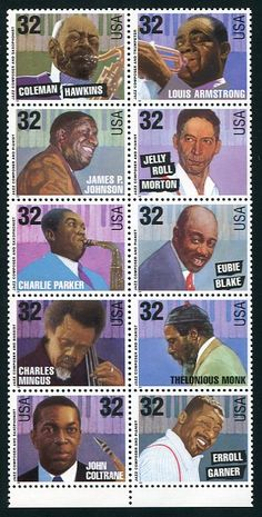 Jazz Musicians Issue Mint Block of 10 Stamps Discounted Second Quality