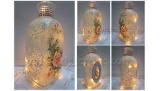 Serviettentechnik Vintage Flasche.