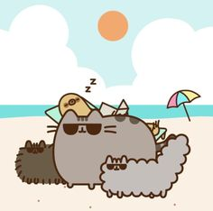 Pusheen and co on the beach 1