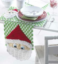 Maggie's Crochet · Santa Table Runner And Placemats Crochet Pattern