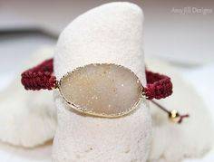 Druzy Macrame Bracelet Tan Jasper Quartz by AmyJillDesigns on Etsy,