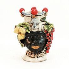 Teste ceramica uomo Caltagirone Uva e limoni