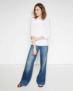Image 1 of HIGH COLLAR LINEN BLOUSE from Zara