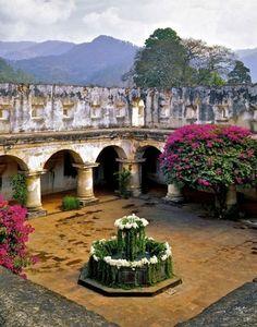 Antigua Guatemala, Santa Clara's stunning courtyard. ©1998 Lynn Herrmann: