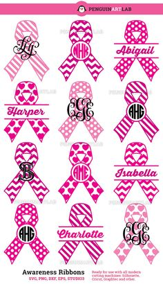 Awareness Ribbons SVG Cut Files Monogram Frames by PenguinArtLab