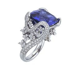 18k white gold and diamond Garden Collection ring with cushion-cut tanzanite center stone, Mark Patterson