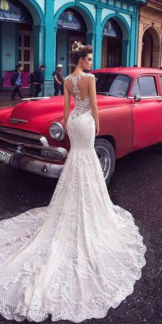 mermaid wedding dresses tattoo effect back unique lace romantic blush lorenzo rossi