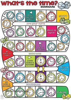 What's the time BOARDGAME - English ESL Worksheets for distance learning and physical classrooms English Time, Learn English, Learn French, Teaching Time, Teaching Math, Maths, English Activities, English Classroom, 1st Grade Math