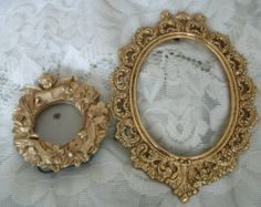 PICTURE FRAME Metal Goldtone Frame Vintage Small Ornate Wall + little frame