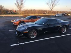 My new to me 2008 Z06. Parked next to a coworker. #Corvette #Stingray #auction #Chevrolet #Convertible #cars #classiccars #Chevy