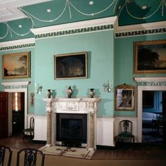 Dining Room, Mount Vernon, Virginia, amazing architectural details and paint colors