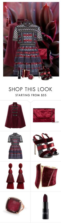 """Burgundy"" by sherrie-mock ❤ liked on Polyvore featuring Pierre Balmain, Halogen, self-portrait, Giuseppe Zanotti, Oscar de la Renta and GUESS by Marciano"