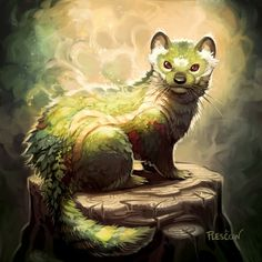 Looks enough like a weasel that you know the artist could make it look realistic if she wanted to. Good colors/pose, vague but dynamic background