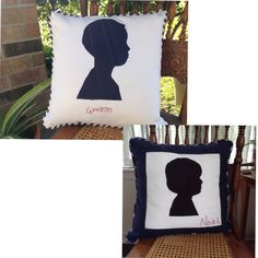 Two Silhouette Applique Pillow Covers  Custom Made by JannieMaies