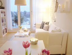 apartment idea...white keeps it clean, fresh and makes it look open, creates flow in the room