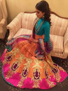 Mehndi outfit love the bright colours. With the simplicity of the blouse.