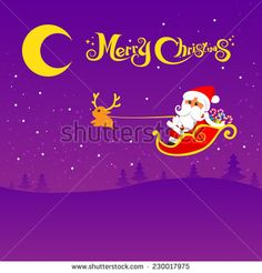 Christmas santa and deer with christmas text on the night background, vector illustration - stock vector