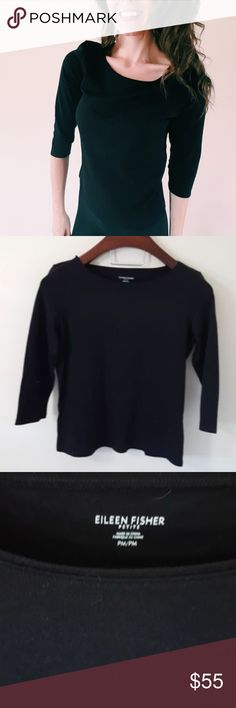 Eileen Fisher | black tee top | PM In good condition! Beautiful Eileen Fisher basic black tee top, size medium (petite). Used item: inspected for quality. Any signs of wear are shown in pictures. Bundle up! Offers always welcome:) Eileen Fisher Tops Tees - Short Sleeve