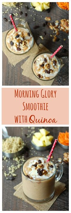 All the flavors of a morning glory muffin (carrot, pineapple, coconut, raisins, and walnuts) in a delicious, vegan, gluten-free smoothie. It's made extra healthy with a surprise ingredient--quinoa! #VillageHarvestInspired