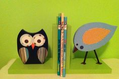 Have the plain wood bookends - just need to paint them!! Owl and Bird Bookends Forest Friends by TheWoodenOwl on Etsy