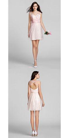 Short/Mini Tulle / Lace Bridesmaid Dress - Blushing Pink Plus Sizes / Petite A-line V-neck Blush Bridesmaid Dresses, Tulle Lace, Dresses Uk, Buy Dress, Blush Pink, Ballet Skirt, Plus Size, V Neck, Mini