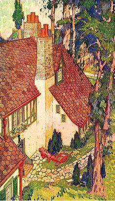 30 trendy ideas for house illustration fairytale Storybook Cottage, Cottage Art, Art Deco Illustration, Floral Illustrations, 3d Art, Red Roof, Arte Popular, Painting & Drawing, Portrait