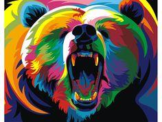 Картина по номерам, раскраска по номерам, paint by numbers, оригинальный подарок - Радужный медведь, Ваю Ромдони - Zvetnoe.ru - картины по номерам