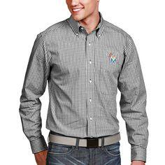 Miami Marlins Antigua Associate Button-Down Dress Long Sleeve Shirt - Black - $40.79